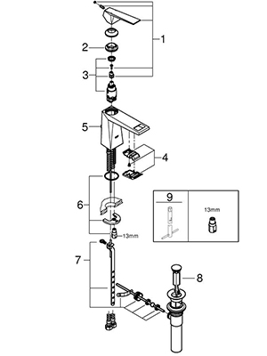 Grohe 32034000 - Parts Breakdown