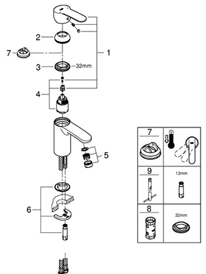 Grohe 23042002 - Parts Breakdown
