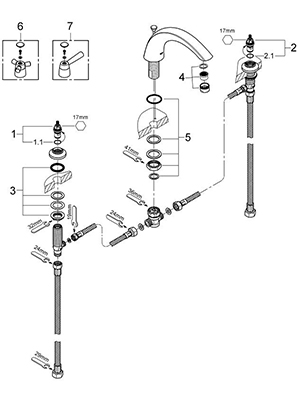 Grohe 25071000 - Parts Breakdown