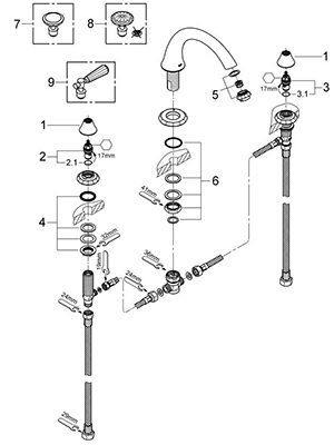 Grohe 25074000 - Parts Breakdown