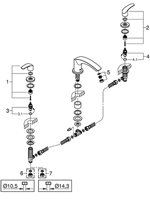 Grohe 25168002 - Parts Breakdown