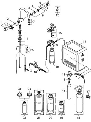Grohe 31251001 - Parts Breakdown