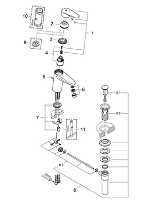 Grohe 33413002 - Parts Breakdown