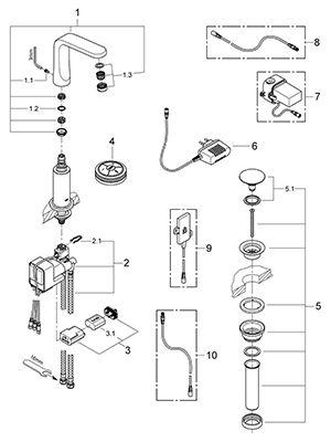 Grohe 36284000 - Parts Breakdown